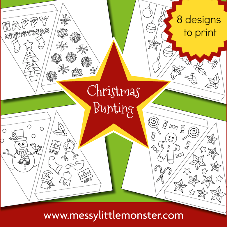 Christmas paper bunting - printable bunting template to colour