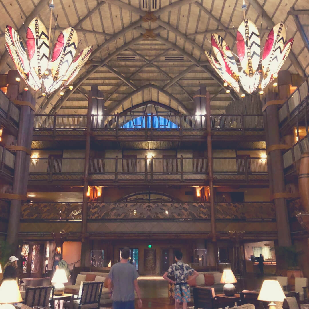 Inside the Lobby of the Animal Kingdom Lodge in Walt Disney World.