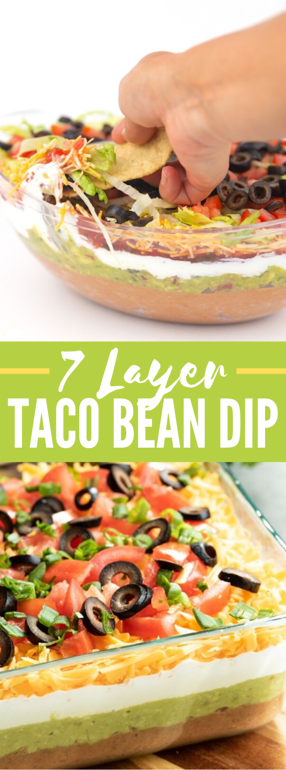 7 Layer Taco Bean Dip #appetizers #meals