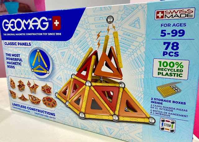 A box showing the new packaging of GEOMAG Classic panels which will be made from recycled plastic going forwards