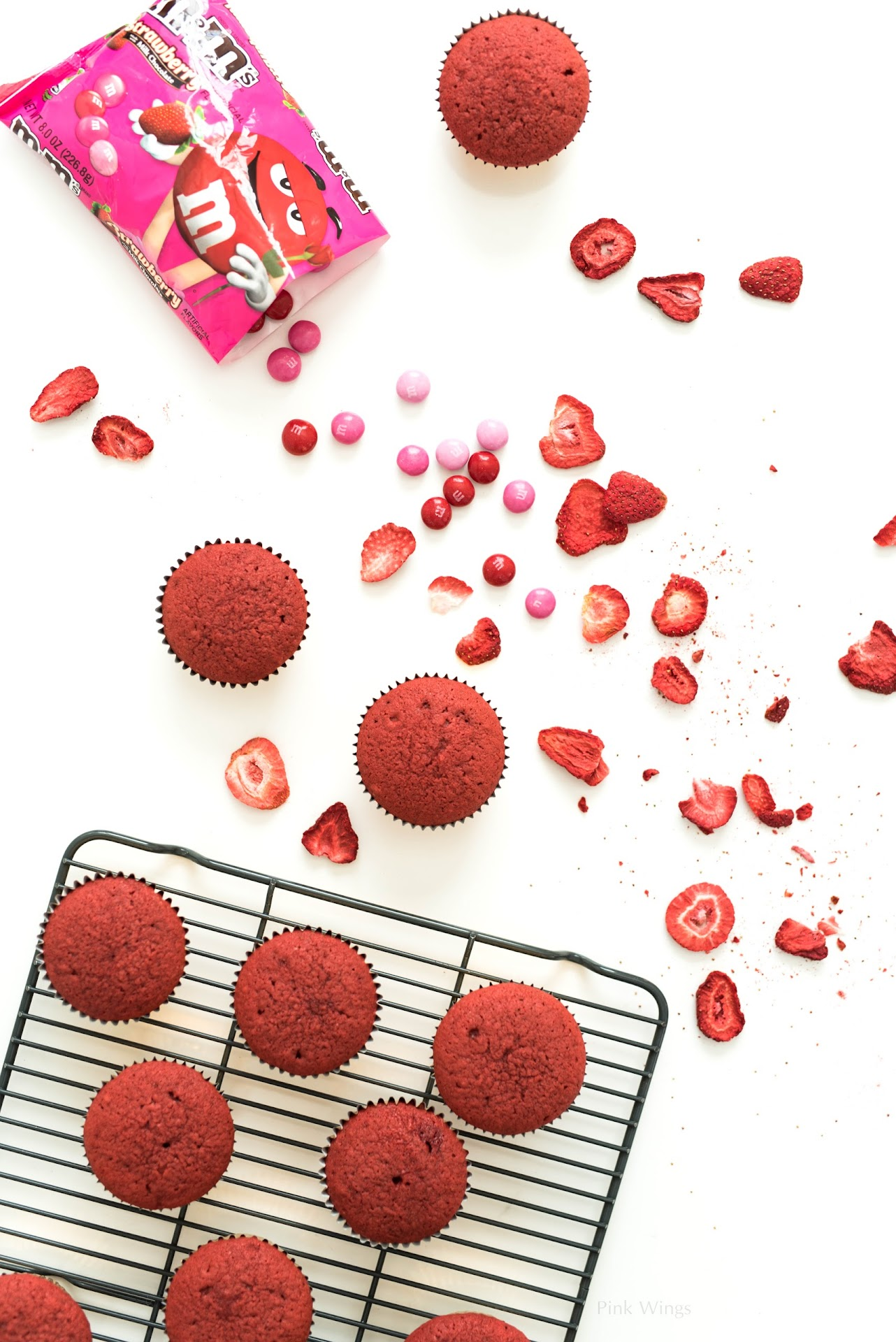 strawberry buttercream filling, Valentine's Day food ideas, desserts, gifts for anyone, Valentine's Day party ideas, pink dessert, pink food, red food, M&M's® Strawberry, easy bake red velvet cupcakes, fresh strawberry frosting, strawberry cream cheese frosting