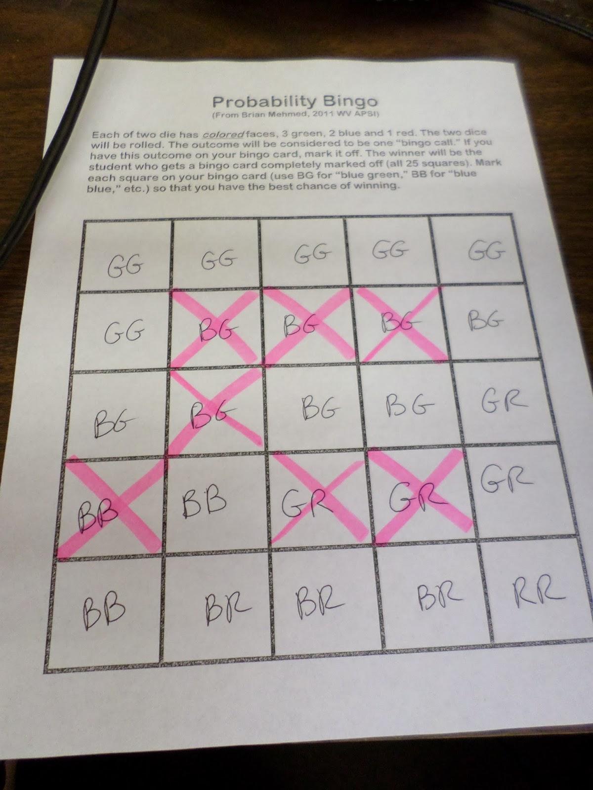 Math Love Probability Bingo