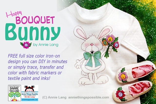 Download Annie Lang's full size color iron-on bunny design project for FREE because Annie Things Possible when you DIY!
