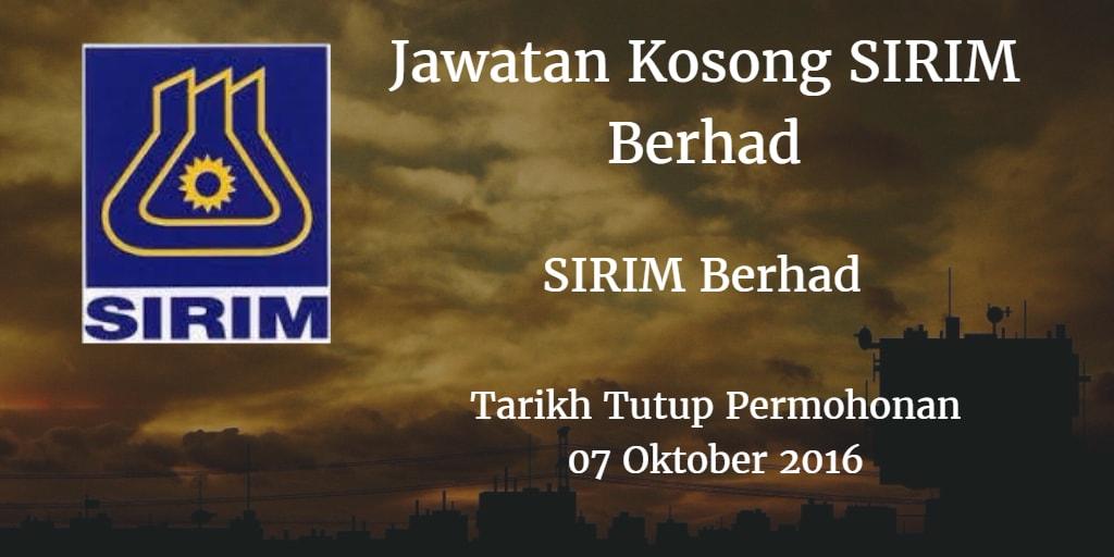 Jawatan Kosong SIRIM Berhad 07 Oktober 2016