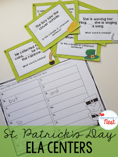 St. Patrick's Day activities- ELA centers for 2nd grader students- educational games to play that practice language and grammar skills