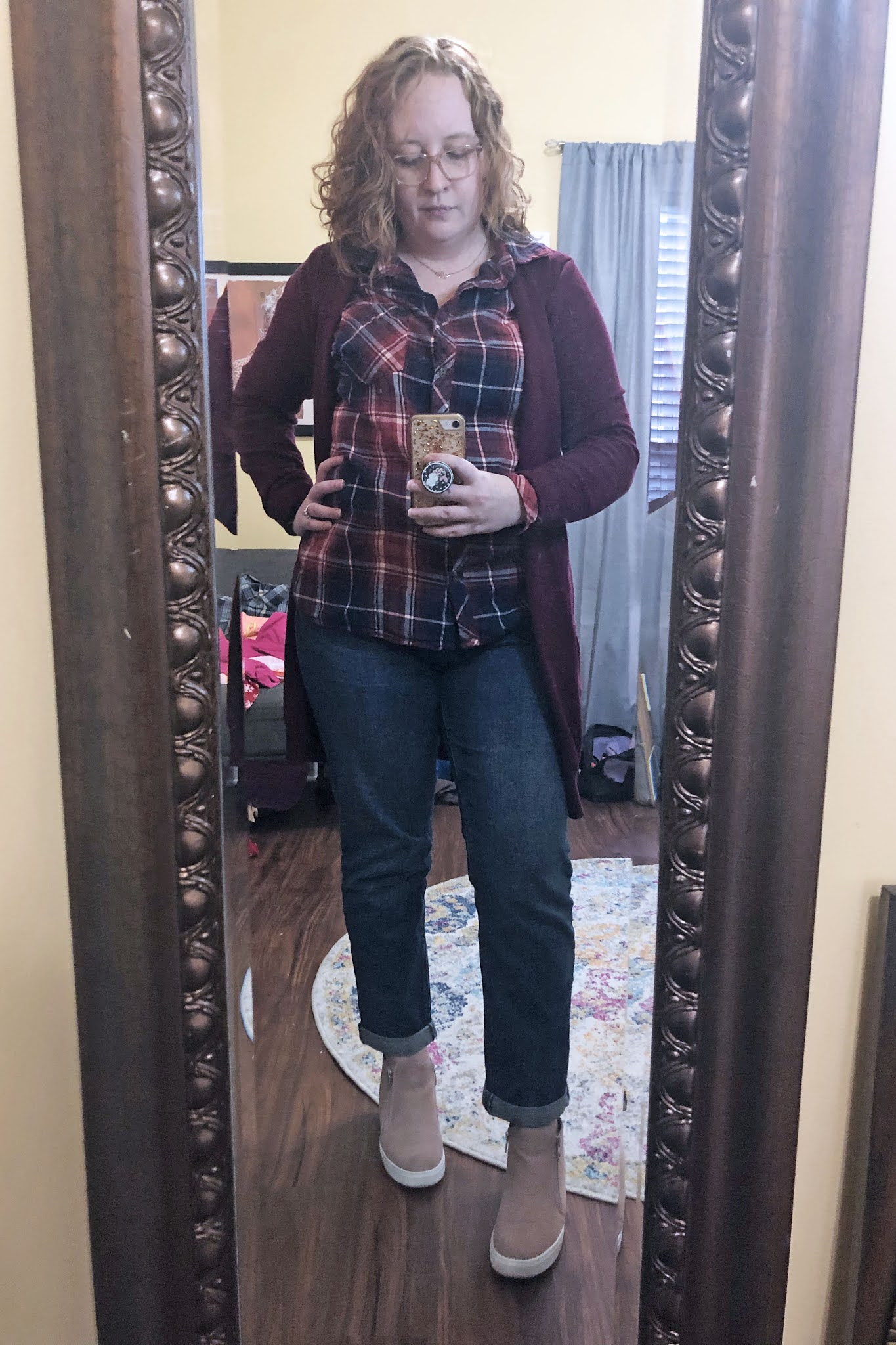 burgundy-navy-plaid-button-down-cardigan-boyfriend-jeans-wedge-sneakers