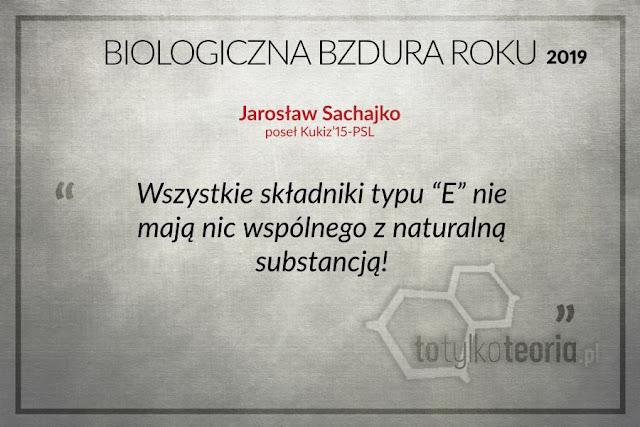 Biologiczna Bzdura Roku 2019 Jarosław Sachajko