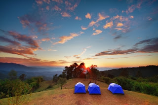 Eco-friendly tent camping.