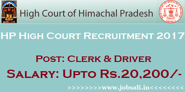 HP High Court Clerk jobs, Govt jobs in Himachal Pradesh, HP Govt jobs