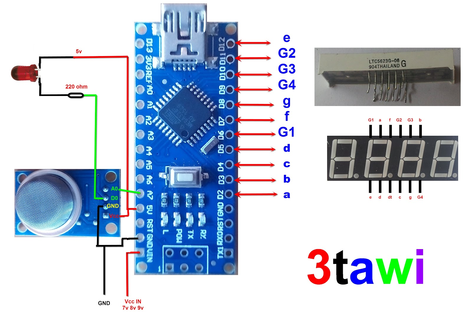 Sensor Gas 4 Digit 7 Segment Arduino Nano Projects Free The We Will Use In This Circuit Is A Tcs3200 Color Download