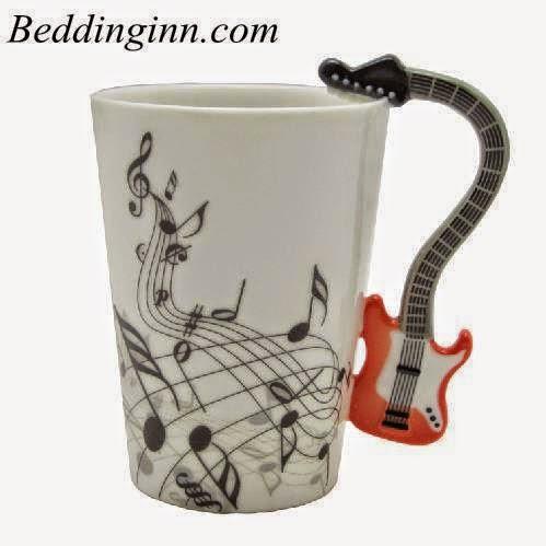 Unique Design Porcelain Enamel Electric Guitar Coffee Mug