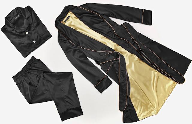 exklusiver luxus herren morgenmantel lang gefüttert seide schwarz schlafanzug pyjama englischer hausmantel elegant klassisch stilvoll