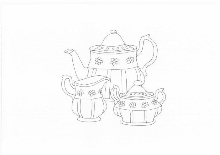 Tranh tô màu bộ ấm trà