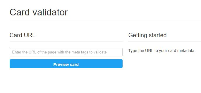 Twitter Card validator page