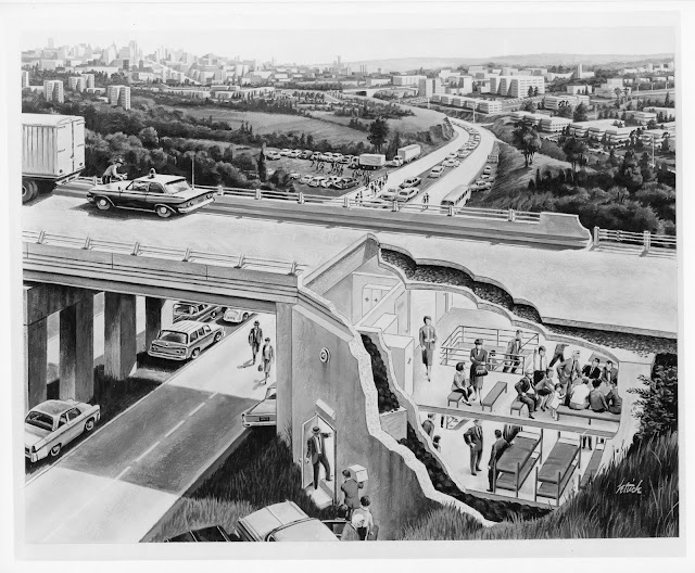 A 1955 drawing of a bomb shelter adjunct to a freeway overpass.