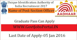 Unique Identification Authority of India AADHAAR Recruitment 2017