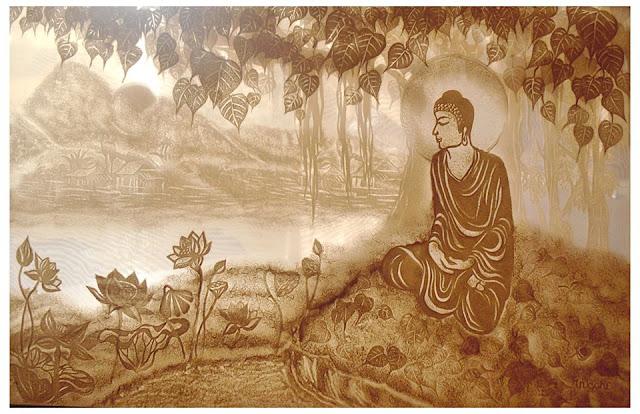 Tranh Trúc Chỉ Phật ngồi dưới gốc Bồ Đề
