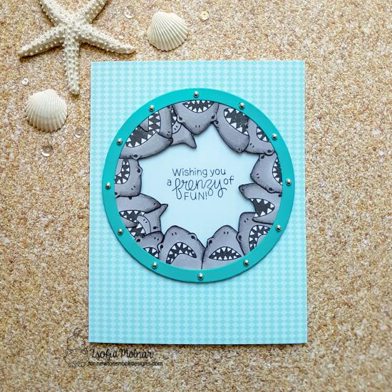 Circle of Sharks card by Zsofia Molnar | Shark Frenzy Stamp Set by Newton's Nook Designs #newtonsnook #handmade