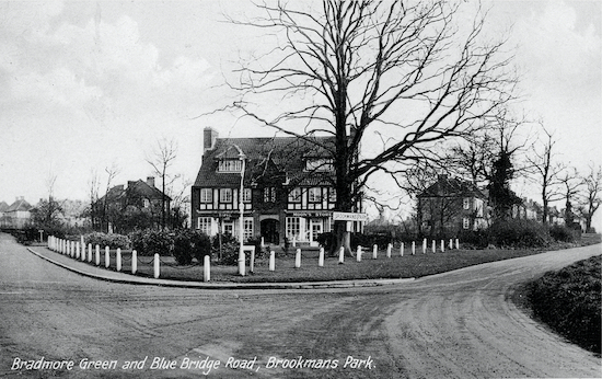 Shops on Brookmans Park's Bradmore Green in the 1930s Postcard from the Peter Miller collection