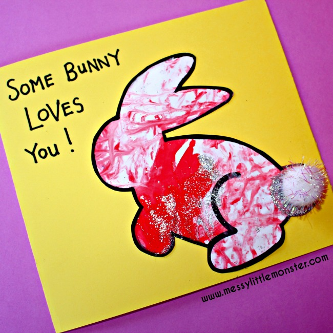 Easy bunny art for kids with a cute free printable. Some Bunny Loves You.  An Easter/ Spring/ Mothers day craft project. Toddlers and preschoolers will love the fun painting idea used to decorate the bunnies.