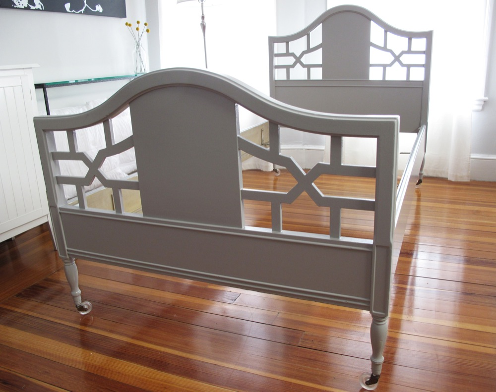 Blue Lamb Furnishings : Gray Vintage Twin Bed Frame