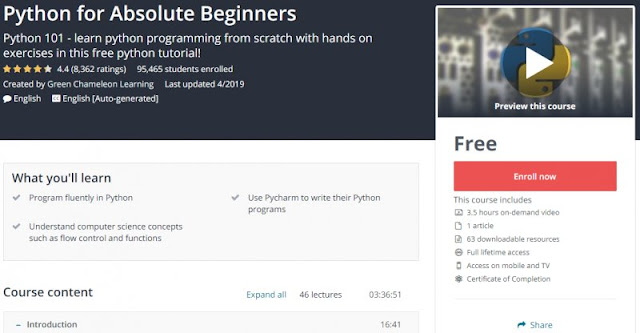 [100% Free] Python for Absolute Beginners