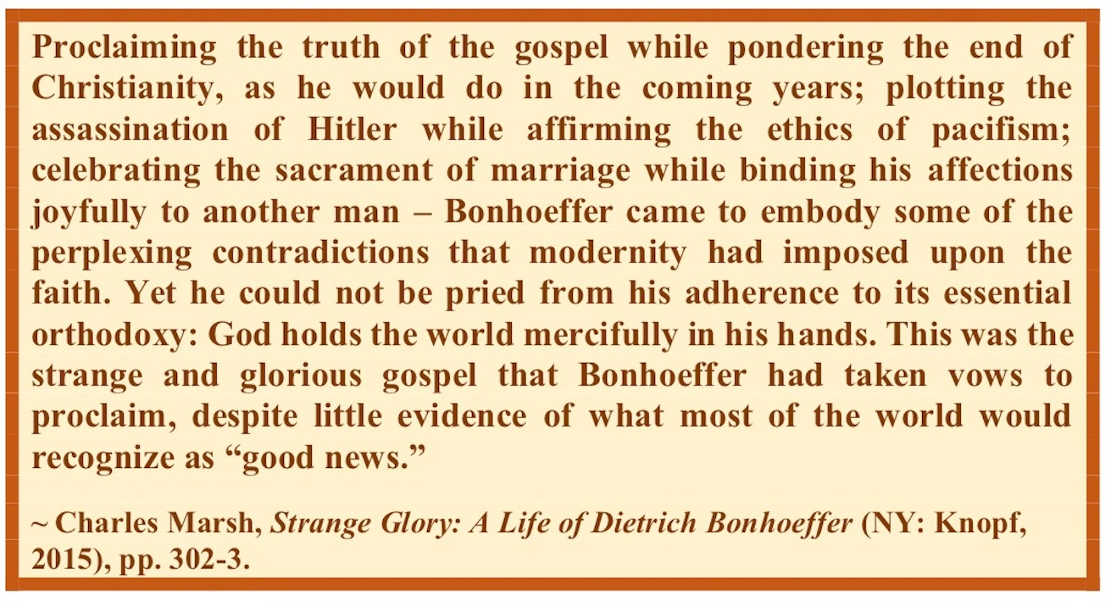 a report on the life of dietrich bonhoeffer and his ministry at the confessing church Bonhoeffer came from a privileged family where a life of music, scholarship and travel was the norm yet when the german evangelical church welcomed the nazi regime into power, bonhoeffer joined the confessing church in protest he began teaching at finkenwalde, a confessing church.