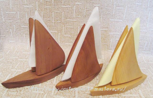 деревянные салфетницы в виде лодок