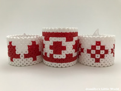 Scandi inspired Hama bead battery tea light holders