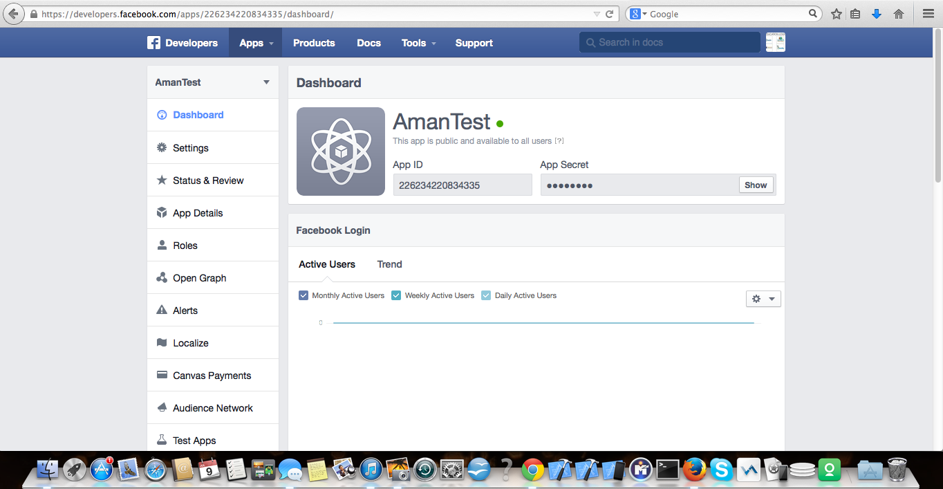 Facebook app dashboard