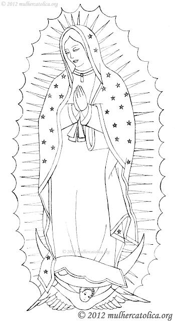 Desenho de Nossa Senhora de Guadalupe para colorir