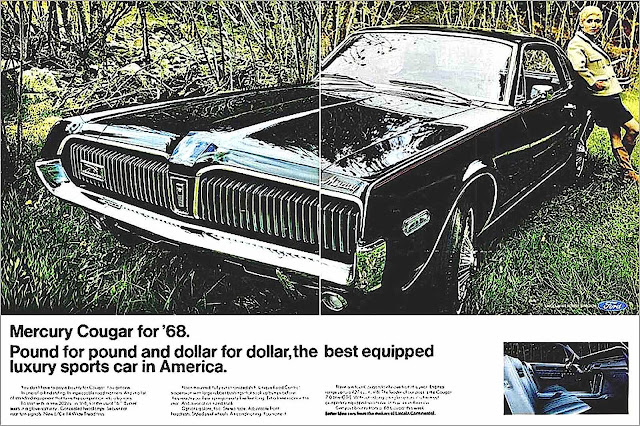 a 1968 black Mercury Cougar advertising photograph