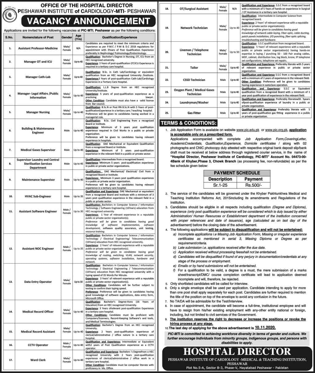 Jobs in Peshawar Institute of Cardiology MIT Peshawar 2020