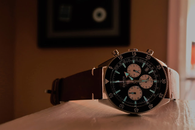 Dryden Chrono Diver black lume shot