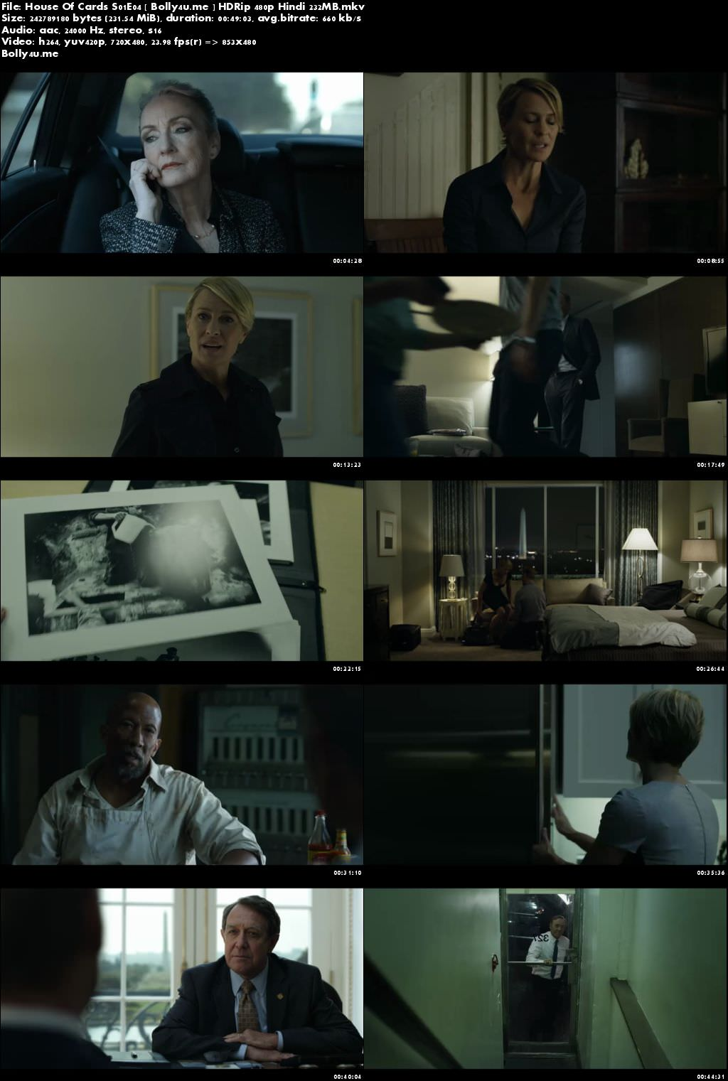 House Of Cards S01E04 HDRip 200MB Hindi Dubbed 720p Download