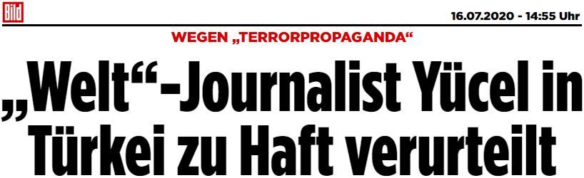 """WEGEN """"TERRORPROPAGANDA"""": """"Welt""""-Journalist Yücel in Türkei zu Haft verurteilt"""