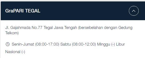 Alamat GraPARI Telkomsel Gajah Mada Tegal 2019