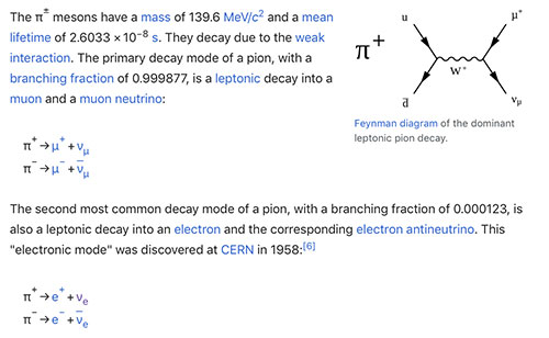Charged pions, produced by bombarding carbon with high energy protons, decay to make neutrinos (Source: Wikipedia)