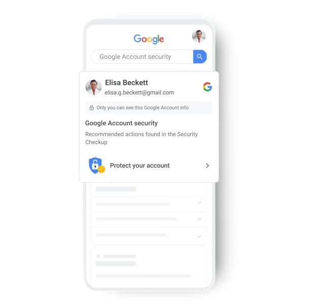 Screenshot des Google Kontos und der Sicherheitseinstellungen