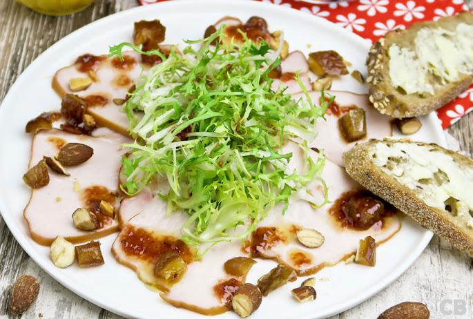 Recept Salade van gerookte kalkoen met een dressing van vijgenkonfijt