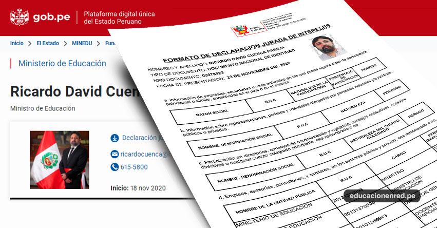 MINEDU: Declaración Jurada - Ricardo David Cuenca Pareja - Ministro de Educación (Declaración de Intereses 2020) www.minedu.gob.pe