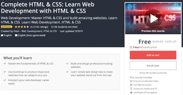 [100% Off] Complete HTML & CSS: Learn Web Development with HTML & CSS| Worth 199,99$