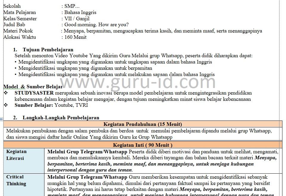 Rpp Daring Bahasa Inggris Kelas 7 Semester Ganjil Format Selembar Info Pendidikan Terbaru