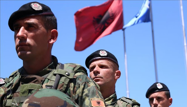 Albania's military contingent departing to Afghanistan