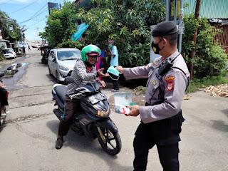 Operasi Yustisi, Polres Pelabuhan Makassar Rutin berikan Imbauan dan Bagikan Masker kepada Masyarakat