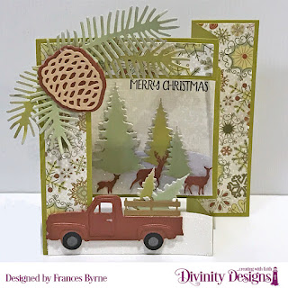 Stamp/Die Duos: Loads of Love  Custom Dies: Tri-Fold Card with Layers, Trees & Deer, Pickup Truck; Curvy Slopes, Pinecones & Pine Branches  Paper Collection: Retro Christmas