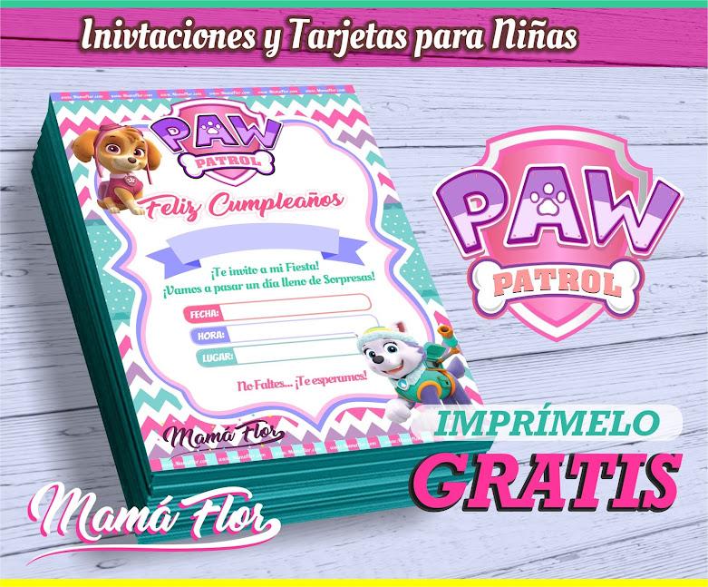 ≫ Fiesta de Paw Patrol | Invitaciones para Niñas | Tarjetas Gratis