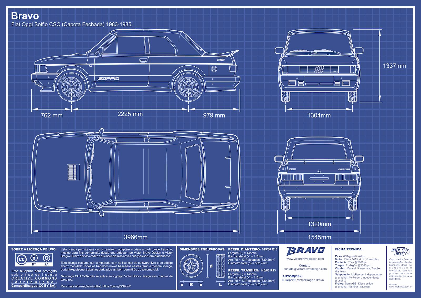 Imagem mostrando o desenho do blueprint do Bravo Fiat Oggi Soffio CSC (Capota Fechada) 1983-1985