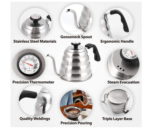 BelleGuppy A0307 Coffee Kettle with Thermometer