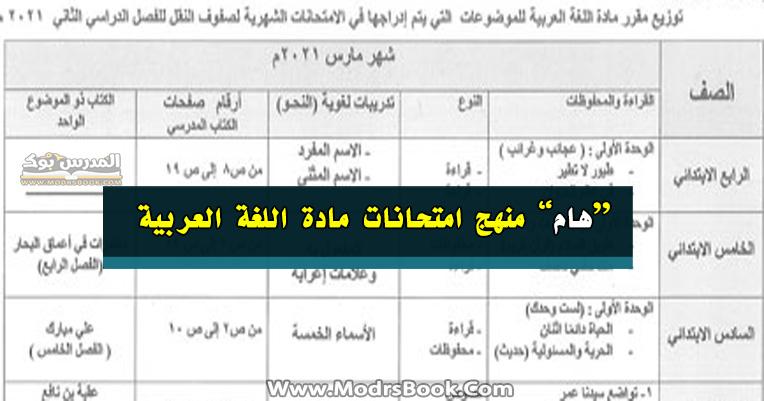 المنهج المقررة لامتحان شهر مارس وابريل ومايو مادة اللغة العربية جميع المراحل ابتدائي واعدادي